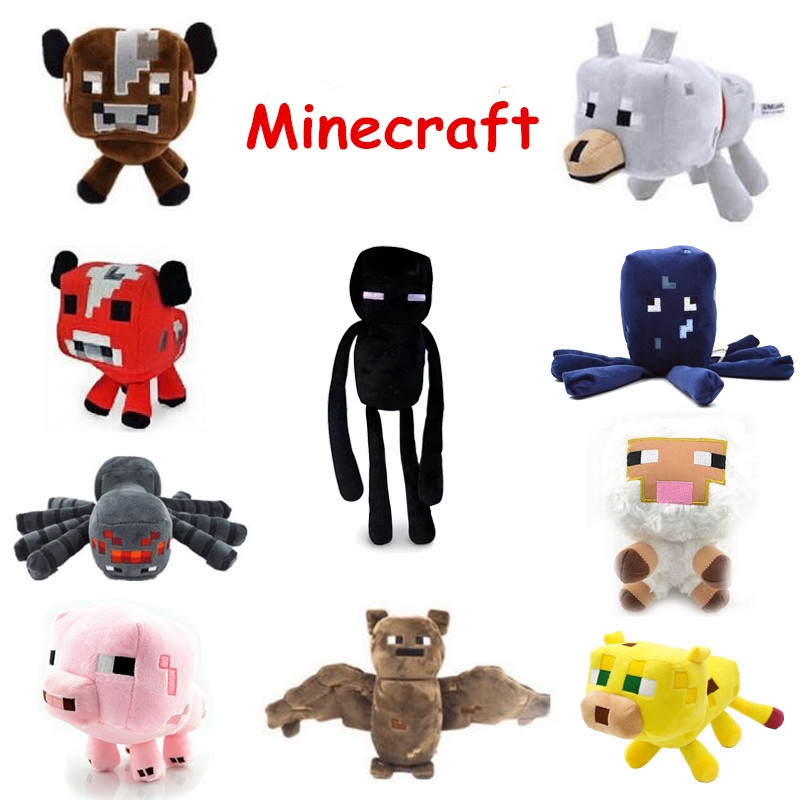 Minecraft Plush Toys Enderman Ocelot Pig Sheep Bat Mooshroom Squid Spider Wolf Creeper Steve Skeleton Ghast Anime Plush Zootopia lego lego creator 31031 животные джунглей