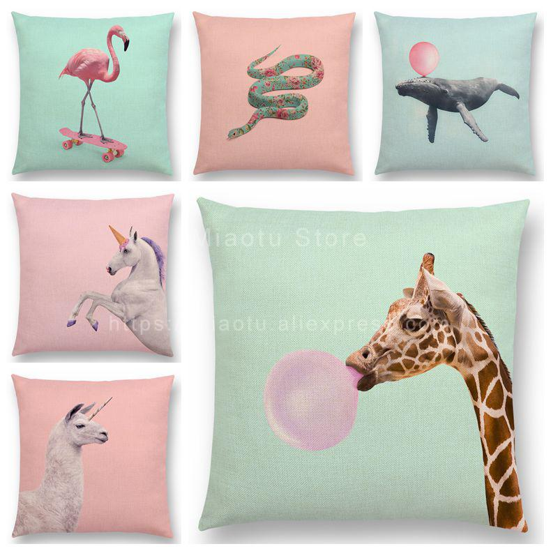 Candy Color Background Animals 18 Inches Square Cushion ...