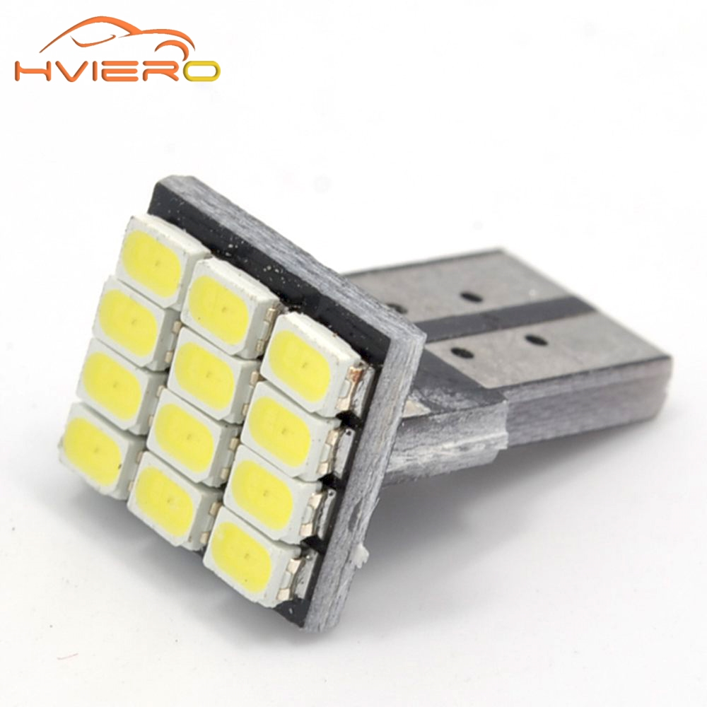 T10 W5W 12SMD 1206 Car Wedge White LED DC 12V Canbus No Error Decoder Car External Lights License Plate Corner lamp Backup Lamp 4pcs super bright t10 w5w 194 168 2825 6 smd 3030 white led canbus error free bulbs for car license plate lights white 12v