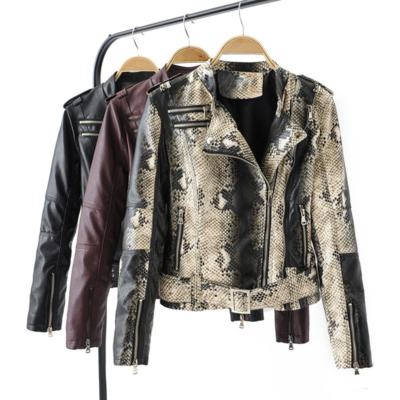 Women Faux Soft   Leather   Jacket Snakeskin Punk Short Jacket Coats Female Rivet Zipper Turn-down Collar Outerwear