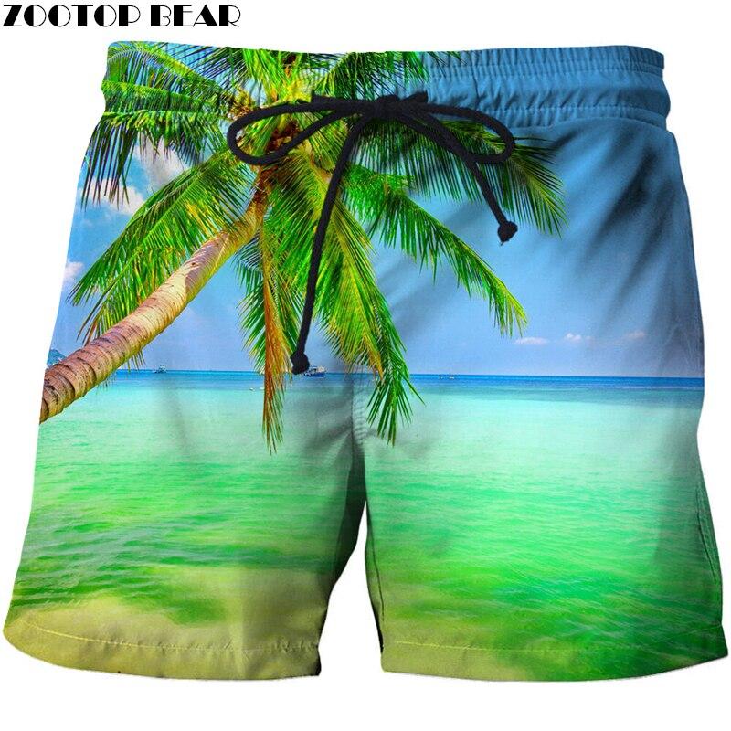 Loose Elastic Waist Men T Shorts Quick Dry Bodybuilding Breathable 3d Printer Clothing Short Summer Coconut Palm Tree Beach Male Men's Clothing