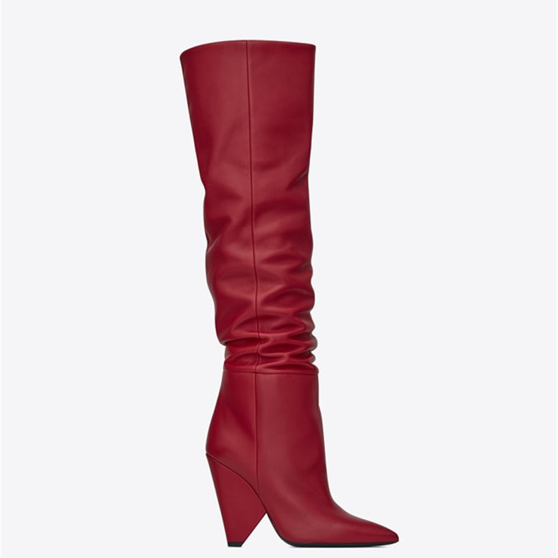 Autumn Newest Pointed Toe Leather Thick Heels Boots Woman Sexy Thigh High Boots 2018 Fashion Over the Knee Big Size Boots Autumn Newest Pointed Toe Leather Thick Heels Boots Woman Sexy Thigh High Boots 2018 Fashion Over the Knee Big Size Boots