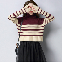 2017 Autumn Winter New Sweater Women Loose Wild Lady High Collar Long Sleeve Large Size Sweater