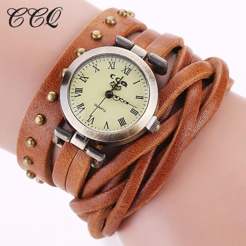 CCQ Vintage Retro Rivet Braided Watch Leather Strap Women Dress Watches Fashion Quartz Watch Relogio Feminino CC681