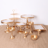 Crystal Metal Cake Stand Holder Cupcake Stand Tray Birthday Wedding Party Dessert Display Decoration Gifts White Gold 12Pcs/Lot