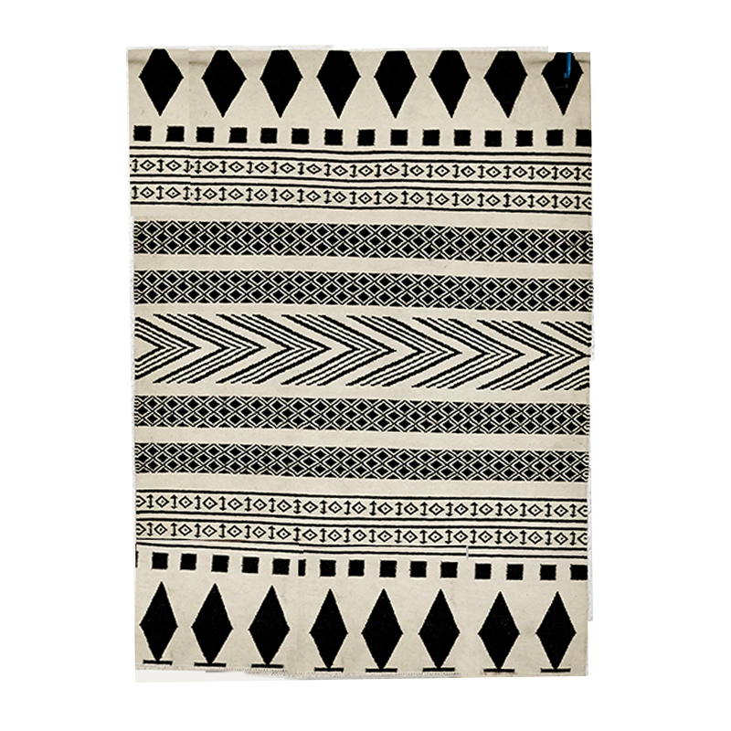 100 Wool Handmade Carpet Geometric Indian Black And White Rug Plaid Striped Modern Contemporary Design Kilim Nordic Style In From Home Garden On