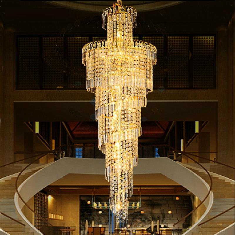 US $1638.0 16% di SCONTO Hotel hall oro lampadario luci per soggiorno  illuminazione lampadario di cristallo lampadari di Cristallo scalinata ...