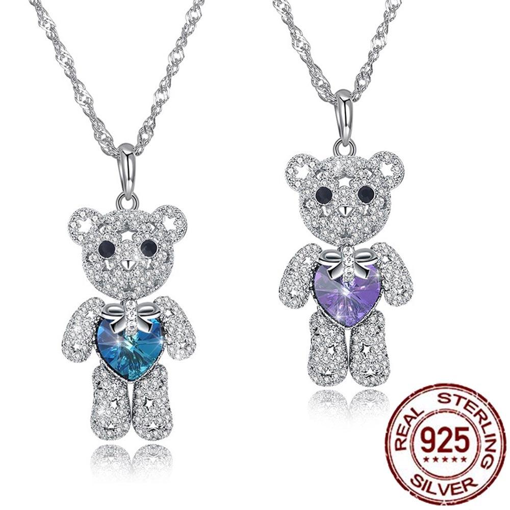 Genuine 925 Sterling Silver Necklace Pendant Cute Animal Bear LEKANI Crystals From Swarovski Women Fine Jewelry