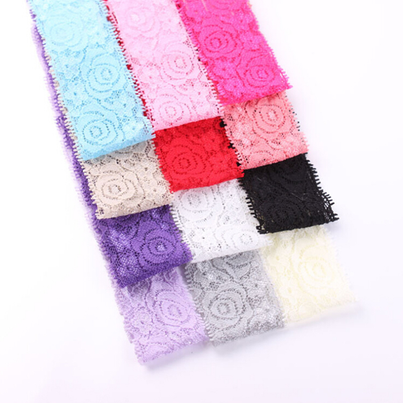 Free Shipping 5 Pcs/Lot Newborn 40mm Elastic Lace Headband Girls Kids DIY Hair Band Accessories Handmade DIY Tools metting joura vintage bohemian green mixed color flower satin cross ethnic fabric elastic turban headband hair accessories