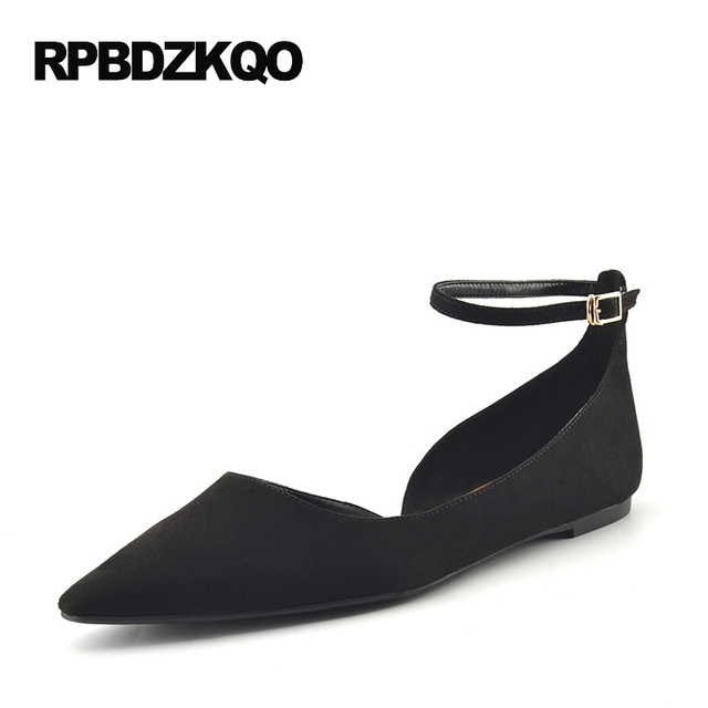 Suede Casual Shallow Footwear Ladies Beautiful Flats Shoes Black Ankle  Strap Women Fitness Slip On Pointed