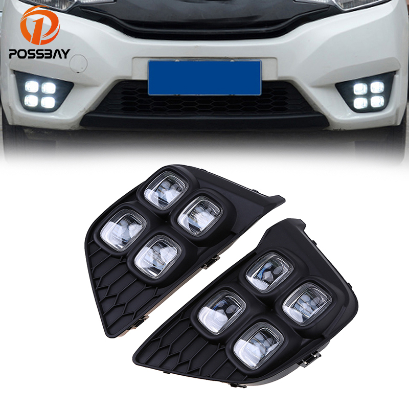 POSSBAY Car LED Daytime Running Light for Honda Fit/Jazz MK3 (GK5) 2014 2015 2016 2017 Pre-facelift White DRL Driving Fog Lamps saucony кроссовки saucony jazz lowpro blue white 10