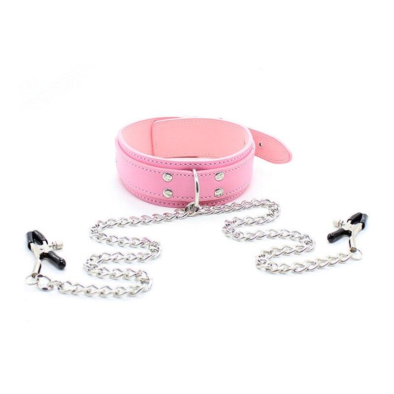 Buy PU Leather Dog Collar Metal Nipples Clamps Stimulator Bondage Slave Restraints Belt Adult Games Fetish Sex Toys Women Men