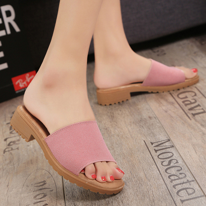 Women's Slippers 2017 Sweet Flats Casual Shoes Beach Sandals Woman Comfortable Wedge Slides Summer Style Pink Shoes Plus Size 9 gladiator sandals 2017 summer style comfort flats casual creepers platform pu shoes woman casual beach black sandals plus us 8