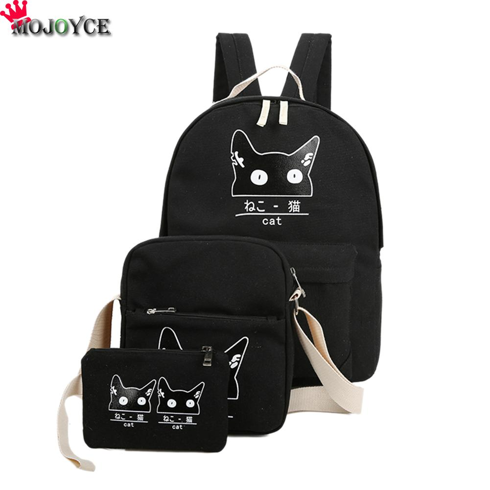 Women Backpack Cat Printing Canvas School Bags For Teenager Girls Preppy Style 3 Set/PC Rucksack Cute Book Bag Mochila Feminina 2pcs set preppy style canvas backpack women letter printing backpacks school bags for teenager girls schoolbag female travel bag