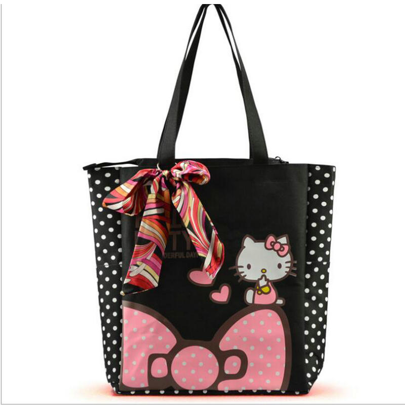 цена на New Women Canvas Handbag Large Space Zipper Shopping Shoulder Bag Hello Kitty Pattern Girls Beach Bookbag Casual Tote