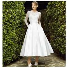 Женское свадебное платье до щиколотки кружевное цвета слоновой