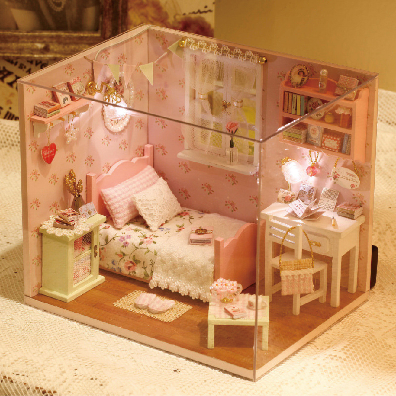 Diy wooden miniature doll house furniture toy miniatura for Furniture house