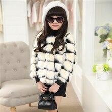 Корейский стиль девушки искусственного меха пальто 2015 новых осень зима О-Образным Вырезом с длинным рукавом лоскутное утолщение детская верхняя одежда куртки пальто