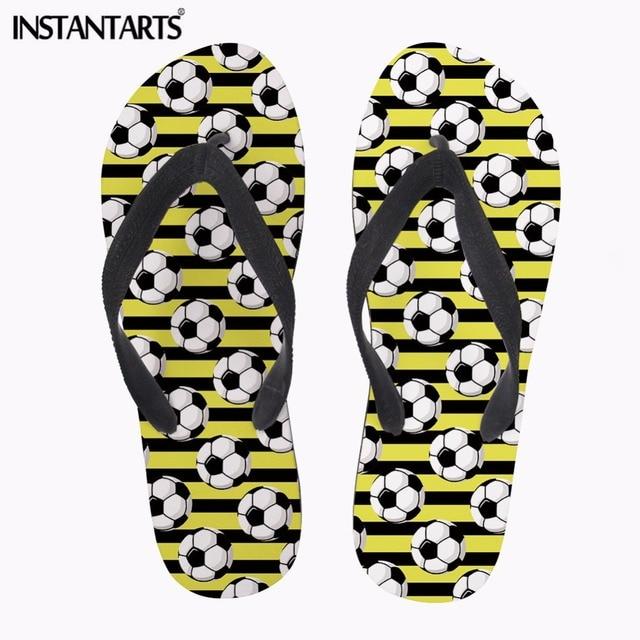 a092dbb7271 Instantarts summer beach rubber flip flops men lightweight outside slippers  soccer printing male flipflops hombre boys