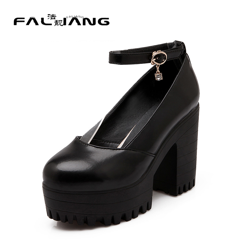 ФОТО 2017 Spring/Autumn Round Toe Buckle Mature Square heel Women's Shoes Extreme High Heels Pumps Woman For Women Platform Shoes