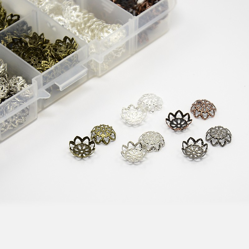 1 Box Mixed Iron Flower Bead Caps Sliver Antique Bronze End Jewelry Accessories 9x4mm, Hole: 1mm; 525pcs/box  -  PandaHall LTD's store store
