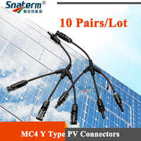 10 Pairs/Lot x 1 To 3 Y Branch PPO Material IP67 MC4 PV Terminals Connector solar photovoltaic Panel Adaptor Cable connector