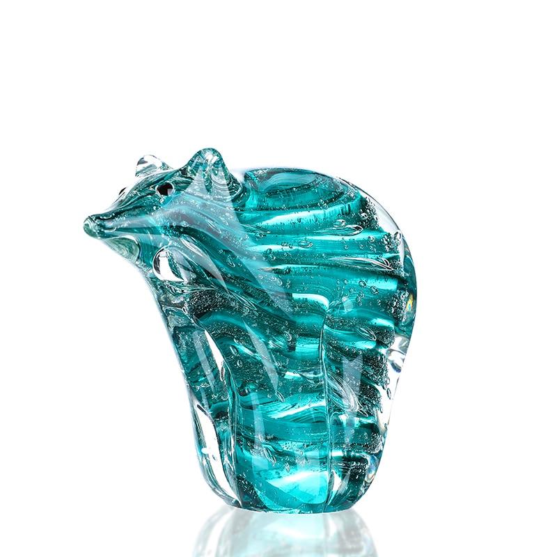 H&D 4.9inch Hand Blown Polar Bear Art Glass Animal Sculpture Home Office Decor Paper Weight Birthday Christmas Gift for Friends