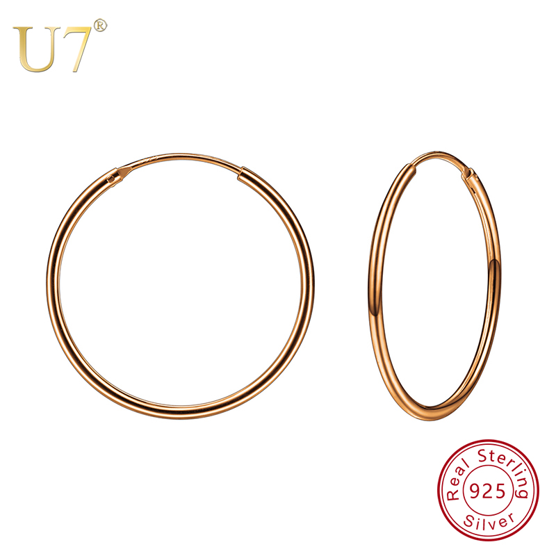 U7 925 Sterling Silver Earrings Round Circle Design Hoop Earring Rose Gold Color Mother's Day Gifts Women Jewelry Earring SC61 hermosa jewelry hot multi color round design 925 sterling silver fashion earring st81