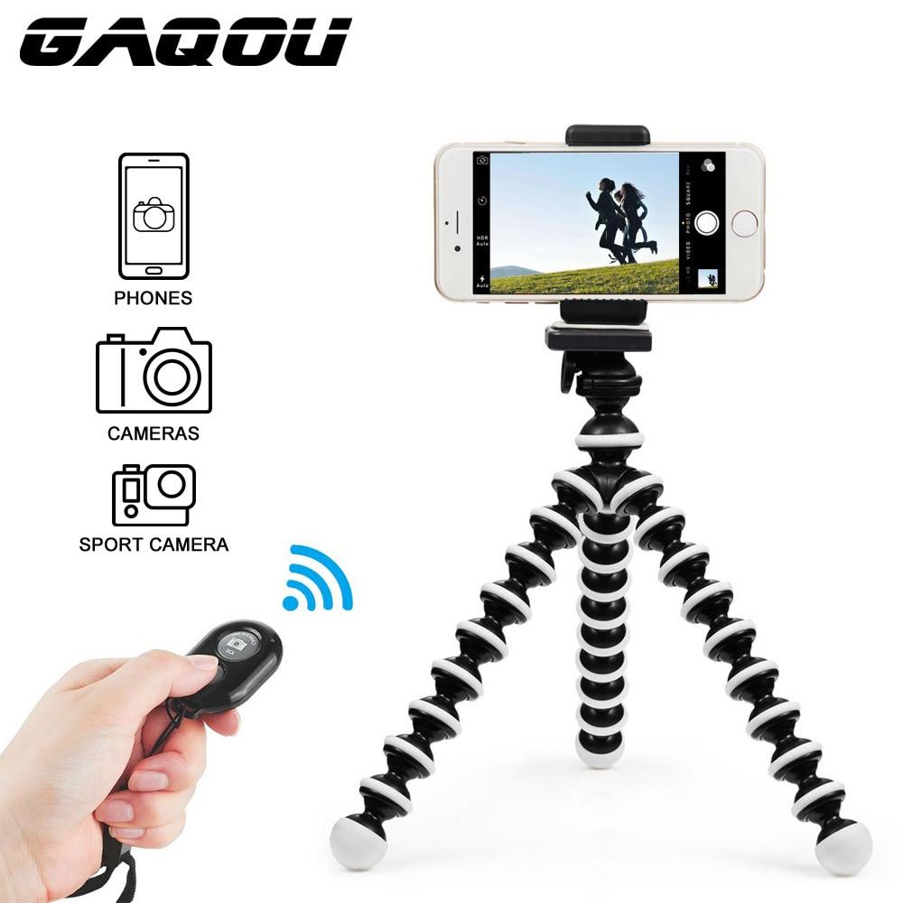 GAQOU Mini Octopus Tripod Bracket Remote Shutter Portable Flexible For Gopro Camera Mobile Phone Tripods Foldable Desktop Stand foldable portable phone flat bracket