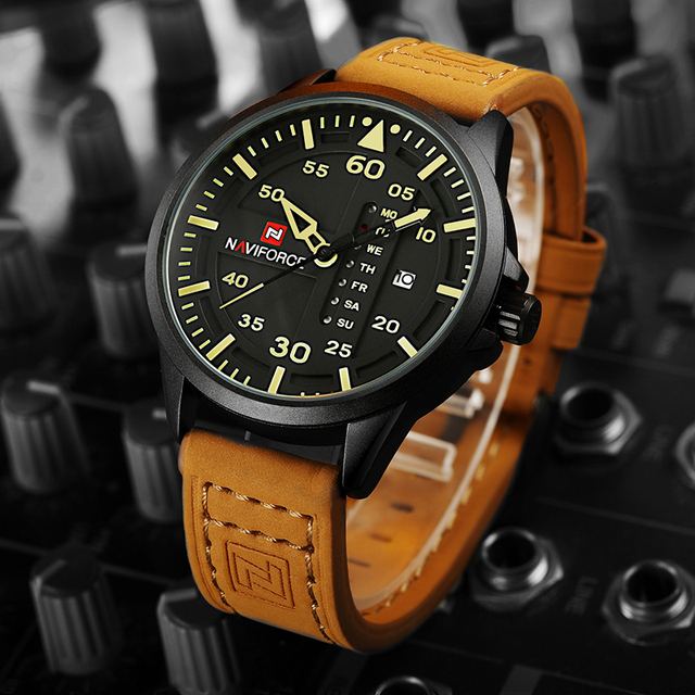 NAVIFORCE Original Luxury Brand Army Military Quartz Watches Men Hour Clock Sports Leather Wristwatch relogio masculino