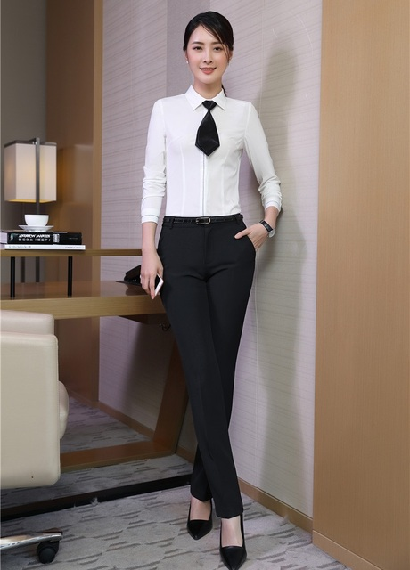 Two Piece Sets Women Business Suits Pant and Top Sets White Blouses