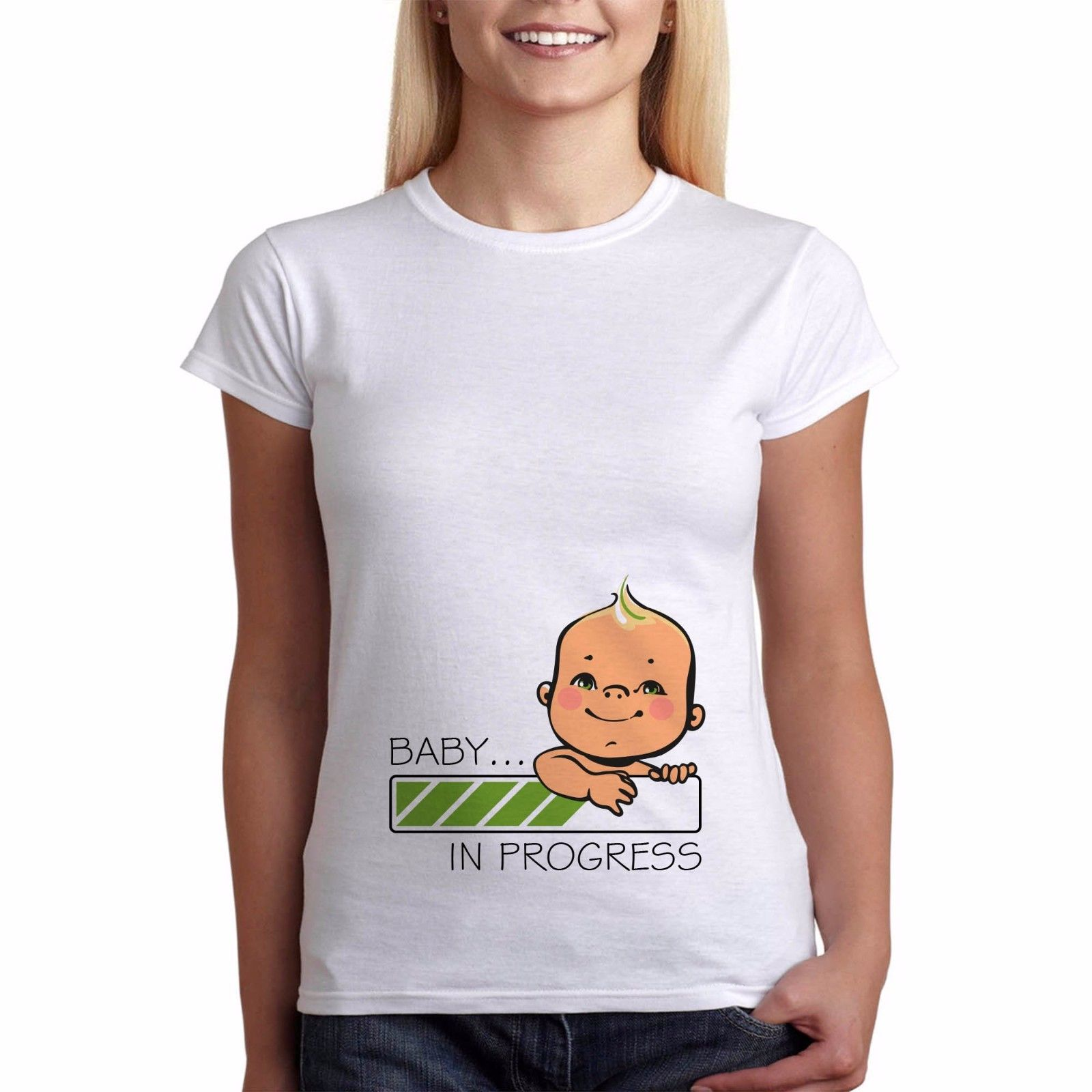 Womens Funny Pregnancy Maternity T Shirt Baby Is Loading Perfect Gift Maternity Print T Shirts ...