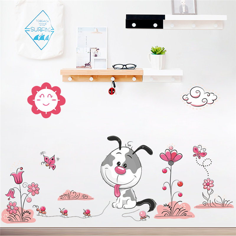 Cartoon Animal Dogs Pet Puppy Flower Wall Stickers For