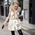 2017 Real Rabbit Fur Vest With Hooded Women Rabbit Fur Coat Winter Fur Jacket with belt Free shipping big size F272A