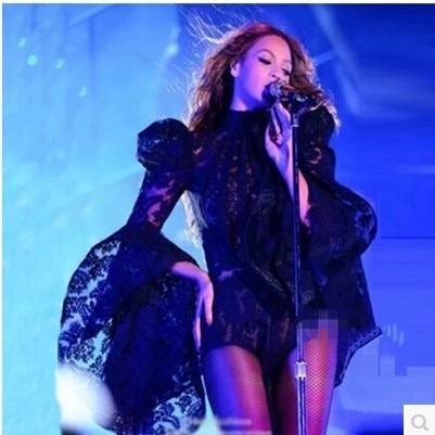 האירופית האמריקנית זמרת ביונסה לבצע תחפושת DS מועדון לילה תחרה חצוצרה שרוולים חתיכת מכנסיים