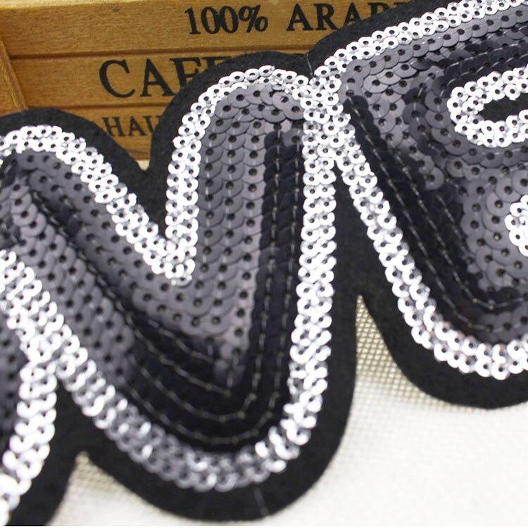 Spitzenstoff Englisch schwarz englisch liebe pailletten patch applique spitze stoff