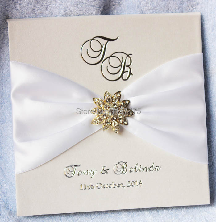 Aliexpress compre hi1075 exclusive hardcover luxury wedding key words exclusive hardcover luxury wedding invitation card with ribbon and rhinestone brooch embellishments personal customized wedding card with stopboris Choice Image