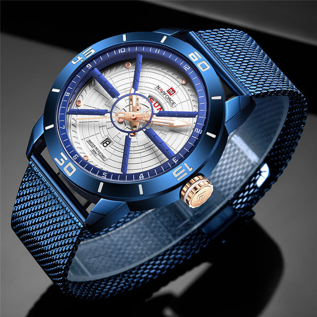 NAVIFORCE Mens Watches Sport Watch Mesh Steel Date Week Waterproof Quartz