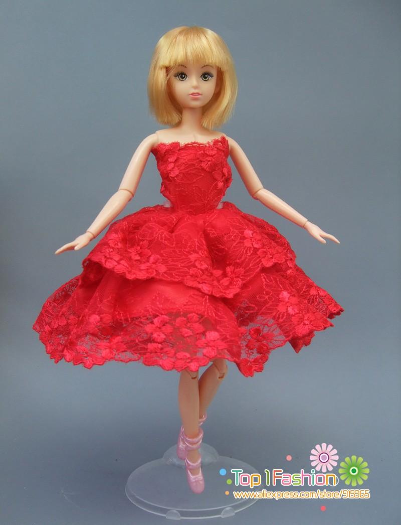 1 Pcs Red Tutu Ballerina Skirt For Barbie Doll short Mini Dress Small  Birthday Gift for baby girl 41a053fb522e