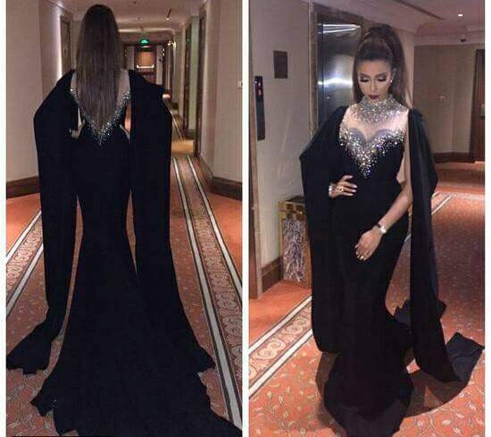 Dubai Kaftan Long Sleeves Mermaid Black   Evening     Dress   2019 Beaded Crystal High Neck Red Abaya Kaftan Long Arabic Prom   Dresses