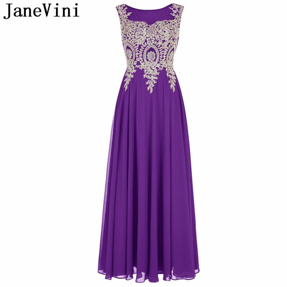 JaneVini 2018 Luxurious Gold Lace Appliques Beaded Purple   Bridesmaid     Dresses   for Women A Line Sheer Back Chiffon Long Prom Gowns