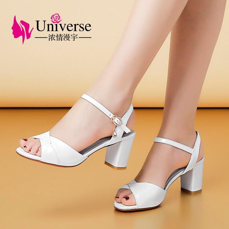 Wszechświat zwięzłe buty damskie sandały wygodne kwadratowe obcasy prawdziwej skóry G173 w Wysokie obcasy od Buty na  Grupa 1