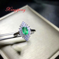 Xin yi peng 925 silver inlaid natural emerald ring, the woman ring, birthday anniversary gift