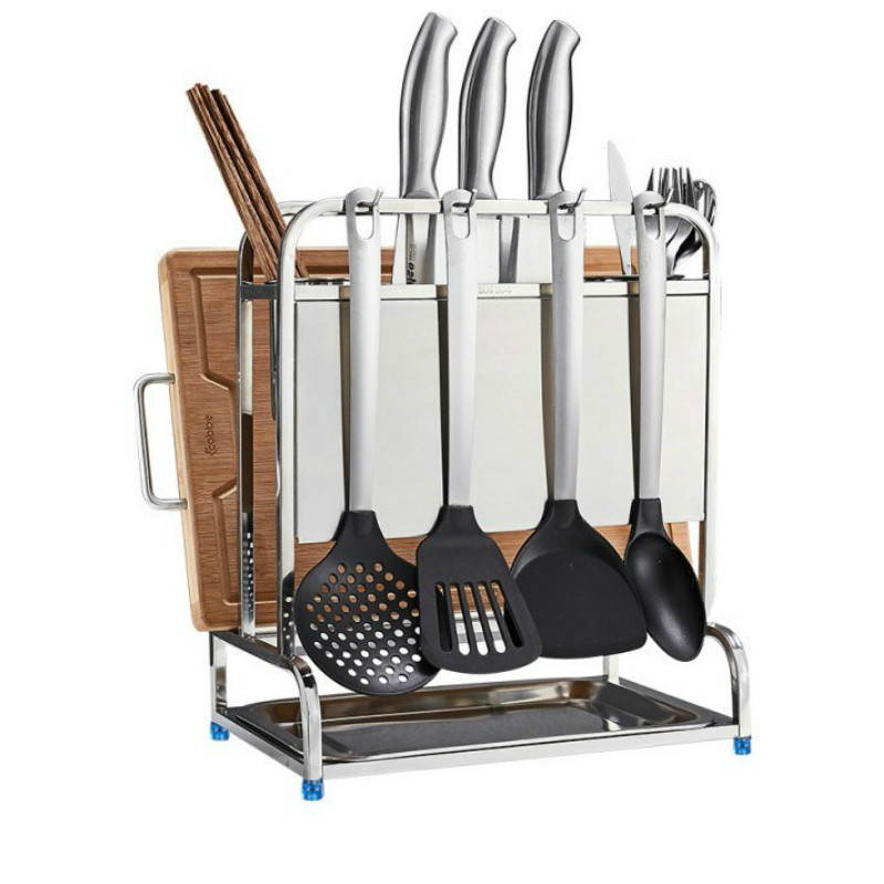 Household 304 Stainless Steel Multi-function Kitchen Pendant Racks Kitchen Knife Cutting Board Lid Storage Shelf ZP3261650