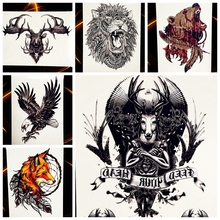 25 Style Unique Moose Elk Deer Letters Temporary Tattoo For Men Women Arm Leg Body Art Waterproof Fake Lion Bear Tattoo Stickers