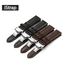 iStrap Calf Leather Watch band Watch Strap Butterfly Clasp for Seiko Oris Citizen for omega watchband for all watchbands