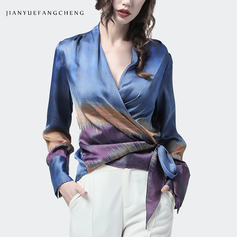 Women Satin Blouse Blue Purple Mixed Colors Printed Long Sleeve Sashes Tie Up V Neck Tops Elegant Slim Female Casual Blouses