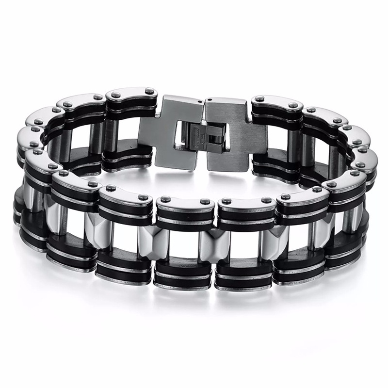 MD Stainless Steel Biker Mens Bracelet Link Chain Motorcycle Bike Bicycle Chain Bracelets Bangles Jewelry