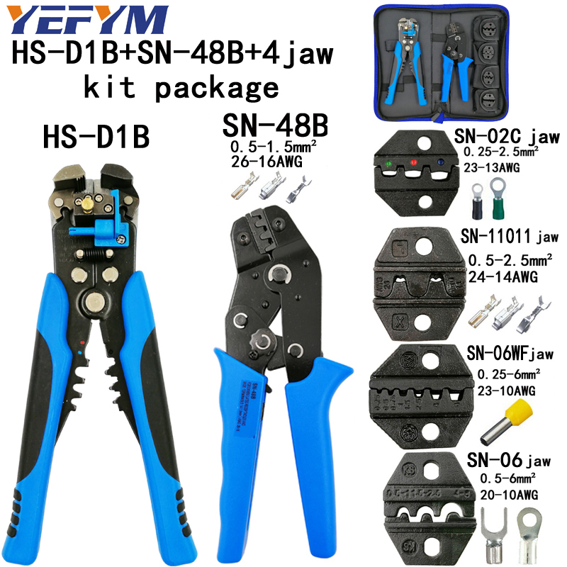 все цены на Kit crimping plier SN-48B/06WF/02C 4 jaw TAB 2.8 4.8 6.3/tube/insuated terminals stripping wire cutters D1 5 kinds tools kit онлайн