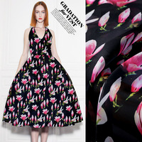 Pink Yulan Silk Organza Satin 2017 New Digital Painting Silk Fabrics Mulberry Silk Fabrics Free Shipping